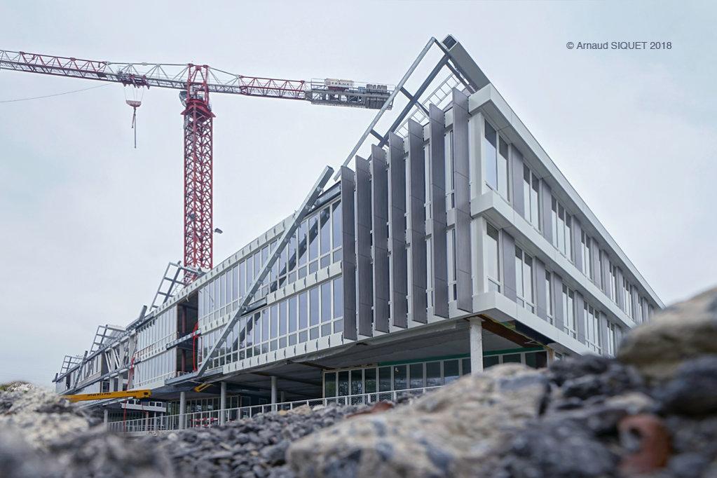 chantier, siège social, Gosselies, construction